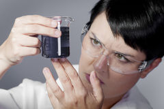 Chemist working, young beauty woman in modern research laborator Stock Image