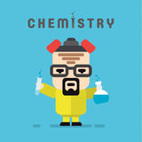 Chemist yellow suit with a respirator, chemistry. Flask flat style logo vector illustration vector illustration