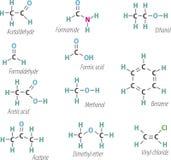 Chemistri formulas. Set of chemistri orgnick formulas Stock Images