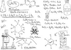Chemistry. Vector - hand draw Organic Chemistry on background Stock Photos
