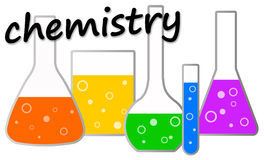 Chemistry. Concept with laboratory glassware filled with colorful chemicals Stock Photography