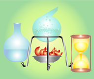 Chemistry. Equipment located on fire Royalty Free Stock Photos