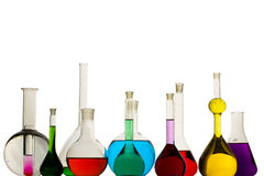 Chemistry. A color-full liquid in chemistry glasses Stock Image