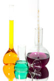 Chemistry. A color-full liquid in chemistry glasses Royalty Free Stock Photo