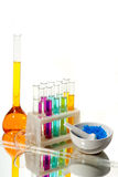 Chemistry. A color-full liquid in chemistry glasses Royalty Free Stock Photography