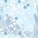 Chemistry abstract vector background in blue color stock illustration