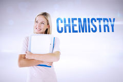 Chemistry against grey background Royalty Free Stock Image