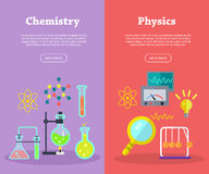 Free Chemistry And Physics Science Banners. Vector Stock Images - 81635474