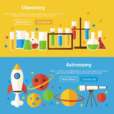 Chemistry and Astronomy Science Flat Website Banners Set. Chemistry and Astronomy Flat Website Banners Set. Vector Illustration for Website banner and landing Stock Photos