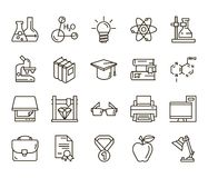 Chemistry. back to school. Set of linear icons on a white background Royalty Free Stock Photography
