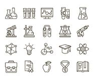 Chemistry. back to school. Set of linear icons on a white background Stock Photo