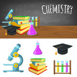 Chemistry backdrop and icons Royalty Free Stock Images