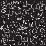 Chemistry background. Molecule models and formulas - hand-drawn illustration Stock Photos