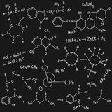 Chemistry background. Chemistry scribble on blackboard, vector illustration Stock Photography