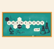 Chemistry background, chemistry inscription. Vector illustration Royalty Free Stock Images