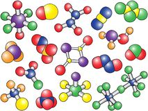 Chemistry background - colored molecule models. Hand-drawn illustration Royalty Free Stock Photography