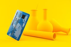 Chemistry background with credit card. In orange color Stock Photography