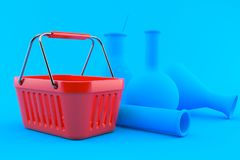 Chemistry background with shopping basket. In blue color. 3d illustration Royalty Free Stock Images
