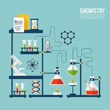 Chemistry Background Template. With microscope atom and dna structure vector illustration Stock Images