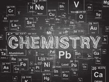 Chemistry Background. Chemistry word on periodic table symbols blackboard background Royalty Free Stock Photography
