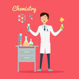 Chemistry Banner Concept Flat Style. Scientist chemist in a laboratory flask in hands holds a science experiment isolated on a red background. Technology Royalty Free Stock Photo