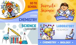 Chemistry banner set, cartoon style royalty free illustration