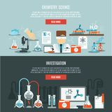 Chemistry Banner Set. Chemistry horizontal banner set with science and investigation flat elements isolated vector illustration Stock Image