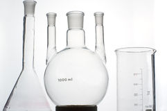Chemistry beaker on grey background Stock Photo