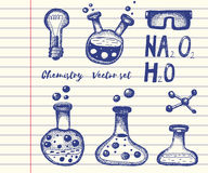 Chemistry and biochemistry vector set. Hand drawn elements Stock Images