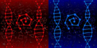 Chemistry or biology DNA genetic background red and blue stock illustration