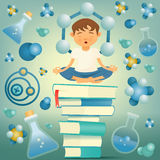 Chemistry and biology education yoga boy concept. Vector illustration Royalty Free Stock Photos