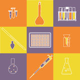 Chemistry biology icon set Stock Images
