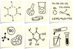 Chemistry and biology icons on yellow memo sticks Stock Photography