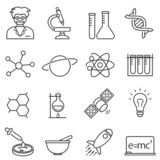 Chemistry, biology science line icons vector illustration