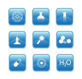 Chemistry buttons. Illustration of blue chemistry buttons Stock Images
