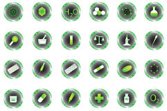 Chemistry buttons. Illustration of chemistry buttons, green Stock Photos