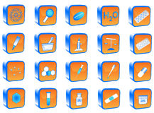 Chemistry buttons. 3D chemistry buttons, blue, orange Royalty Free Stock Photography