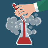 Chemistry, chemical experiment vector illustration Stock Images