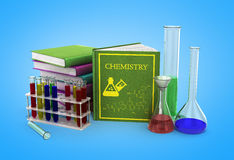 Chemistry class concept with pile of books and chemical solution Royalty Free Stock Photos