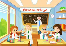 Chemistry Classroom with Students and Teacher stock illustration