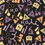 Chemistry color icons dark pattern Stock Image