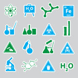 Chemistry color stickers set Stock Image