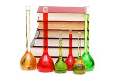 Chemistry concept. With tubes and books on white Royalty Free Stock Photo