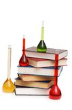 Chemistry concept with tubes. And books on white Royalty Free Stock Photos