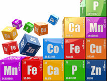 Chemistry concept. Wall from cubes wiyh periodic table of elemen. T. 3d Royalty Free Stock Images