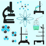 Chemistry Conceptual Set Vector Illustration. Learning Related Stuff On Light Blue Background. stock photo