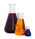 Chemistry conical flasks royalty free stock image