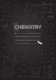 Chemistry copybook cover. Chalk drawing on black blackboard. Vector illustration. Stock Photos