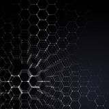 Chemistry 3D pattern, hexagonal molecule structure on black, scientific medical research. Medicine, science and Royalty Free Stock Image