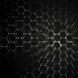 Chemistry 3D pattern, hexagonal molecule structure on black, scientific medical research. Medicine, science and Royalty Free Stock Photo
